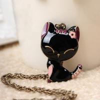 Min.order is $8 (mix order), fashion accessories, vintage black enamel cat necklace, cute female necklace N044