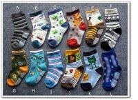 boys children socks fit 1-3yrs baby kids cartoon sport non- slip socks 24 pairs/lot 12 style  free shipping
