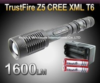 DHL,20PCS/LOT,TrustFire Z5 Cree XM-L T6 1600LM Zoomable Adjustable LED FlashLight Torch +2*3000mah 18650 battery +1*charger