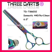 Hot sales High Qality Multicolour professional titanium cut hair scissors thinning shears TD-Ti86032,6.0 inch