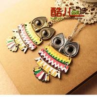 free shipping wholesale 10pcs/lot E4026 queer accessories fashion accessories vintage paint owl necklace