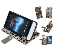 New Arrival Fashion leopard design For Sony xperia s lt26i S720e  Leather Case flip cover for xperia s lt26i DHL free shipping