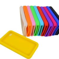 FREE SHIPPING Unique design COLOUR NEW Soft Silicone Rubber Back Skin Case Cover For Apple iPhone 4 4G s  #9663
