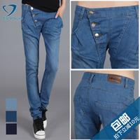 free shipping wholesale Elastic buttons retro finishing denim trousers female pencil pants