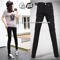 free shipping wholesale Female women's black elastic jeans women's pencil skinny pants plus size trousers