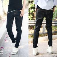 free shipping wholesale 2012 autumn male black blue casual jeans men's slim pencil male trousers