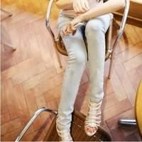 free shipping wholesale 2012 new arrival female slim elastic skinny pants female white thin basic jeans