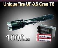 Free DHL,20SETS,UniqueFire UF-X8  Flashlight CREE XM-L T6 LED Torch 1000Lumens + 2pcs 18650 3000mAh 3.7v  Batteries+charger