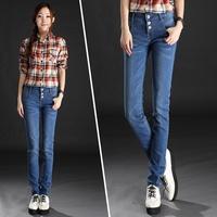 free shipping wholesale Elastic slim skinny pants female plus size wearing white pencil pants jeans women's trousers