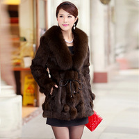 2013 New Plus size High Grade Ladies' Fur coat, Elegant Fox fur collar Slim Women's Rabbit fur coat overcoat,Free shipping FH019