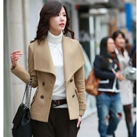 free shipping wholesale Women's elegant large lapel slim wool coat wool coat winter outerwear female