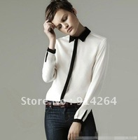 [1706] 2012 New long sleeve women's shirts contrast color on front placket casual shirts Wholesale&Retail size S/M/L 10PCS/LOT