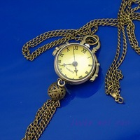 Women's  Vintage  Classic Glass Ball Quartz Pocket Watch Pendant Necklace  K2470