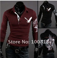 2012 West polo t shirt long sleeve men fashion casual stylish Golt shirt Eagle tattoo printing long t shirt 3color 4size