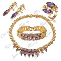 unique and generous 18K gold plated Austrial crystal inlayed jewelry earrings+bracelet +necklace+ring GD063