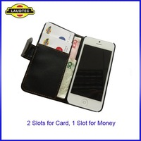 Size Confirmed  Leather Wallet Case for Apple iPhone 5, 300pcs/lot Flip Cover 2 Slots for Card, 1 Slot for Money, Free Shipping