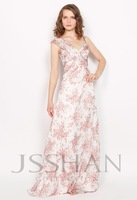 V-Neck Straps Ruching Floral Chiffon Prom Elegant Gorgeous Luxury Unique Evening Dress Ball Gown Dresses