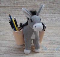 Cute Cartoon Plush Donkey Dolls Toy Pencil Pen Holder For Desk Decoration Free shipping