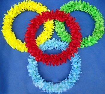 150cm Party/Christmas Supplies Hawaiian Flower Lei Hard Coil Wire Garland/Hawaii Wreath Cheerleading Products Hawaii HH8048