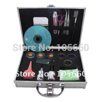 ( Purple Brown Blue Black eyelashes with glue ) Eyelash Extension Kit Set comes with silver Case  Makeup Tools