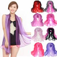 2013 georgette long silk scarf gradient color women's scarf faux silk large cape