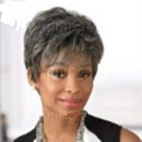 Free Shipping  Heat Resistant New Stylish Silver Gray Short Straight Ladies's Fashion Sexy  Synthetic Hair Wig/Wigs