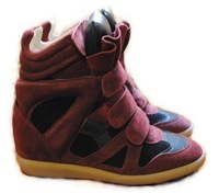 Isabel marant genuine leather wine red wedges sneakers femal shoes size 35-41