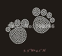FREE shipping DHL 50pcs/lot,Custom hot fix iron on transfer Rhinestone BLING baby footprints for t shirts