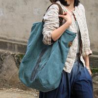 Thick canvas women's handbag ,Girl's shoulder bag, Genuine leather trimming,bronze zipper,big size,[Fashion Depot]