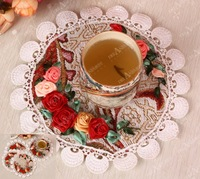 Flower Silk Ribbon Embroidery DIY Unique Craft  Gift Home Textile Wall Art Decoration Coaster OS103