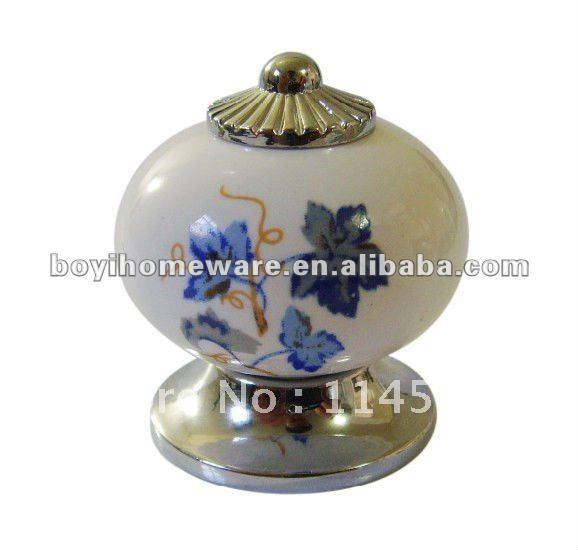 Silver zinc + blue leaf ceramic door knobs/ desk handle knobs/ kids dresser handles/ cheap cabinet knobs/ drawer pull AL60-PC(China (Mainland))