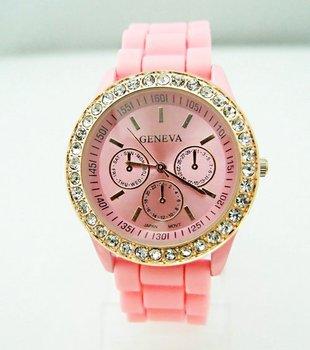 Wholesale 8 colors Pink Silicone Watch GENEVA Fashion Sports Crystal quartz wrist Watch men women students wristwatches GV007-4