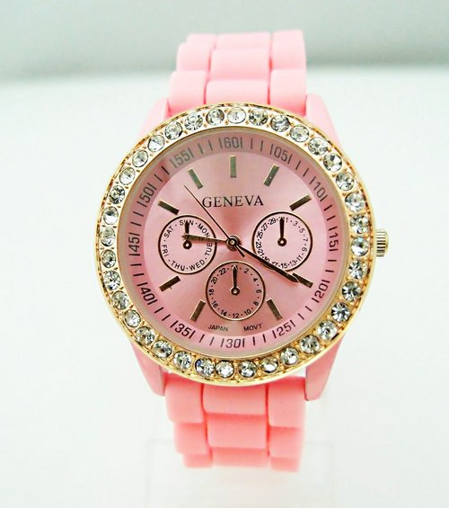 Wholesale 8 colors Pink Silicone Watch GENEVA Fashion Sports Crystal quartz wrist Watch men women students wristwatches GV007-4(China (Mainland))