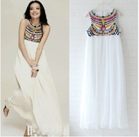 Elegant Hindoo Silk Embroidered Maxi Dress/Beach Dress PLUS SIZE available in S-XL  Free Shipping