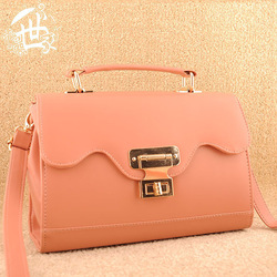 Tender pink peach brass padlock handbag gift dual female bags 80752(China (Mainland))
