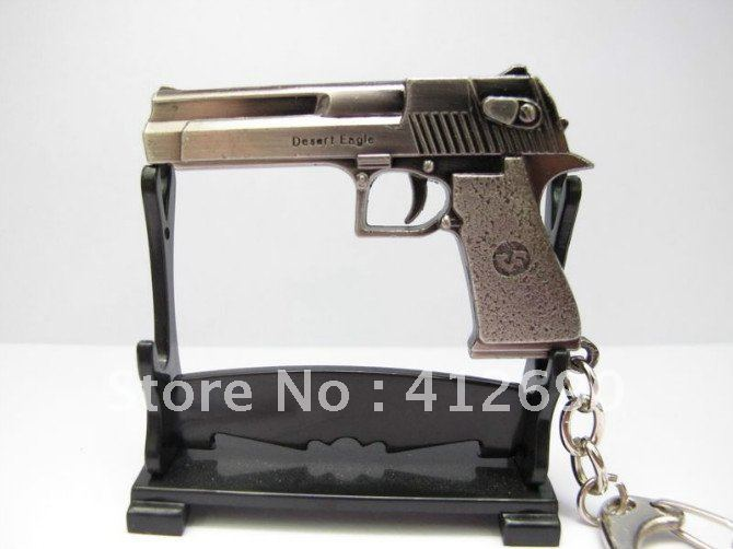 Free Shipping Wholesale/Retail CF Weapon 47 Cool Handgun Blacktone Alloy Keyvchain Punk Rock Biker Gift Presant(China (Mainland))