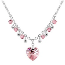 Free Shipping!!! Quality Women's Heart & Beads Style Pink Crystal Collar Necklace Made With Swarovski Elements (6081)(China (Mainland))