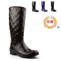 Fashion Solide Color Plaid Women  Rubber   Rain Boots High Women's  Rainboots Water Shoes