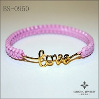 hot sale pink color handmade bracelets love word bracelets fashion jewelry 24pcs/lot -free shipping