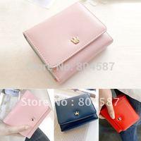 2014 Hot Grace Karin Fashion PU Leather Button Wallet Card Holder Mini Cute Women Purse Free Shipping Pink /Red/Dark Blue BG206