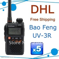 Free Shipping ! UV-3R baofeng dual display 136-174/400-470mHZ two way radio with free earpiece for Ham,hotel,drivers