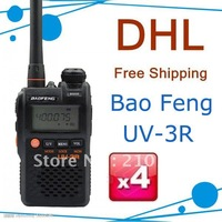 Dual band dual display walkie talkie mini pocket two way radio BAOFENG brand UV-3R II 4units/lot free shipping free earphone