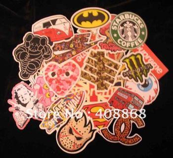 new 24pc Mixed Skateboard Surfboard Laptop Guitar Stickers 24 Random Decorative Stickers FREESHIING