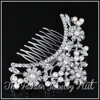 Wholesale Pearl Crystal Flower Hair Comb 3038 . 2013 New Fashion Bridal Accessories Wedding Jewelry Rhinestones