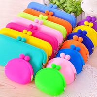 Candy color silica gel coin purse buckle women's coin case key wallet d308