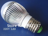 Ac 220V 3W With 3Pcs High-power Led Chip Ball Bulb Light, E27 Warm White/White Super Bright Led  Lighting Free Shipping 7pcs/lot