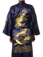 Navy Blue Chinese Men's Satin Polyester Embroidery Robe Kimono Gown Dragon S M L XL XXL XXXL Free Shipping S0008