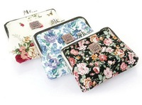 Free Shipping! 2012 new fashion Lovely flower print cotton fabric metal button Coin Purses/Wallet Model organizer wallets