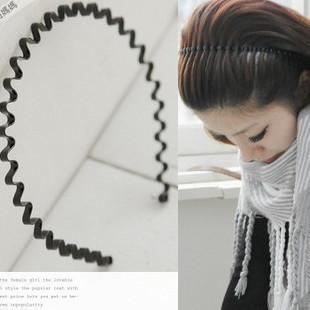 Retail star general wavy hair bands headband hair accessory - black (KC-02)