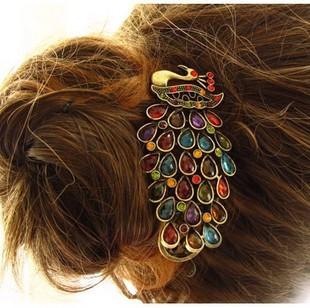 E6150 vintage peacock hair pin duckbill clip banana clip (KC-09)